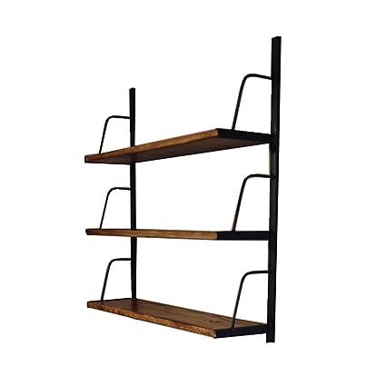WOODJU Repisa flotante estantería productos de pared estante soporte de  hierro partición de madera estante de 10ced2183b82