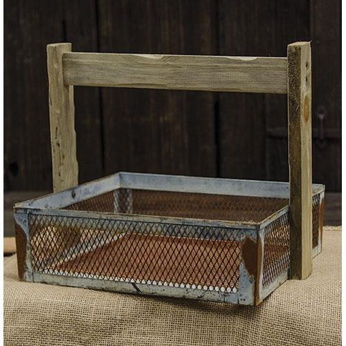Galvanized Wire Mesh Rust Basket - Primitive Country Rustic Home Decor