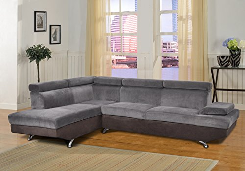 Lifestyle Furniture Genoa Left Hand Facing Sectional Sofa, Dark Gray/Black