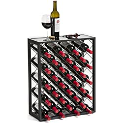 Mango Steam 32 Bottle Wine Rack Glass Table Top, Pewter