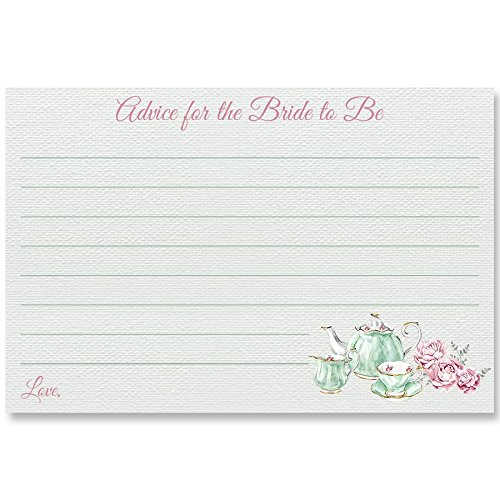 (Advice For Bride To Be, Bridal Tea, White, Mint, Pink, Tea Bridal Party, Tea Party, Advice Cards, 24 Printed Cards)