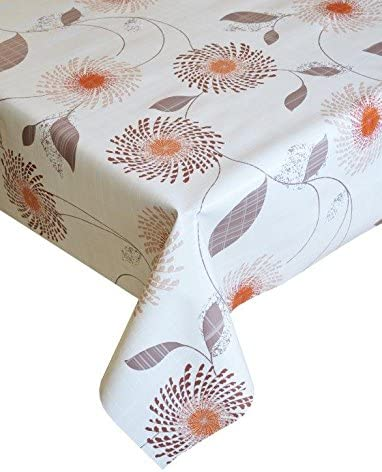HOME-EXPRESSIONS 137cms x 200cms meadow plain flowers off white natural rust orange taupe brown leaves pvc plastic table cloth protector oil vinyl cloth 2 metres long