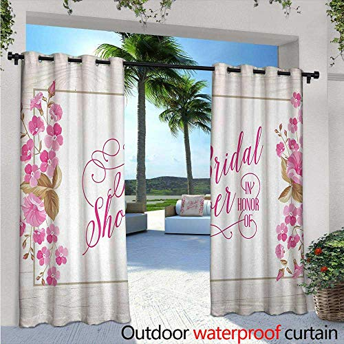 BlountDecor Bridal Shower Outdoor Blackout Curtains W84 x L96 Celebration Bride Party Card Inspired Floral Leaves Frame Image Outdoor Privacy Porch Curtains Lilac Hot Pink and Green