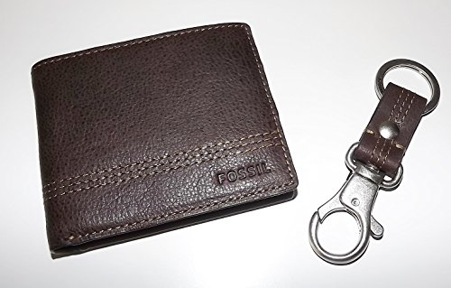 Fossil Bifold Men's Brown Valet with Set Leather Key Wallet Fob RFID Gift Kyle rSrIq
