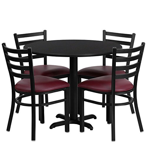 Flash Furniture 36'' Round Black Laminate Table Set with 4 Ladder Back Metal Chairs - Burgundy Vinyl Seat (Dining Banquet Sets Table)