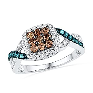 Size - 6.5 - Solid 10k White Gold Round Chocolate Brown Blue And White Diamond Engagement Ring OR Fashion Band Channel Set Square Shape Solitaire Shaped Halo Ring (1/2 cttw)