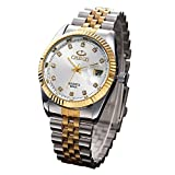 Fq-042 Silver Golden Rhinestones Male Calendar Wrist Watches for Man Stainless Steel Band White