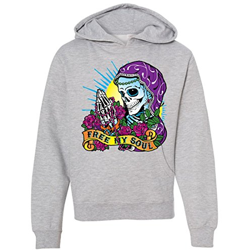 Dia De Los Muertos Free My Soul Youth Sweatshirt Hoodie - Grey Heather Small ()