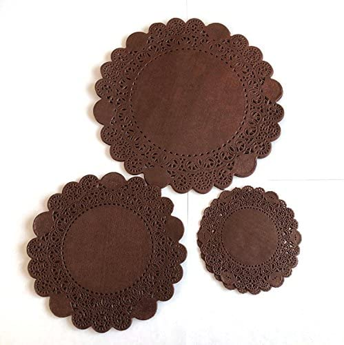 100PC PEPPERLONELY 4-Inch Brown Glassine Paper Doilies