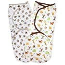 Summer Infant 2 Pack Cotton Knit Swaddleme, Jungle (Small/Medium)