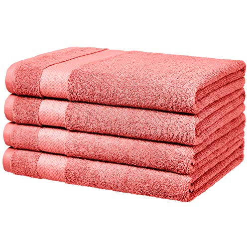 AmazonBasics Performance Bath Towels - 4-Pack, Coral Pink ()