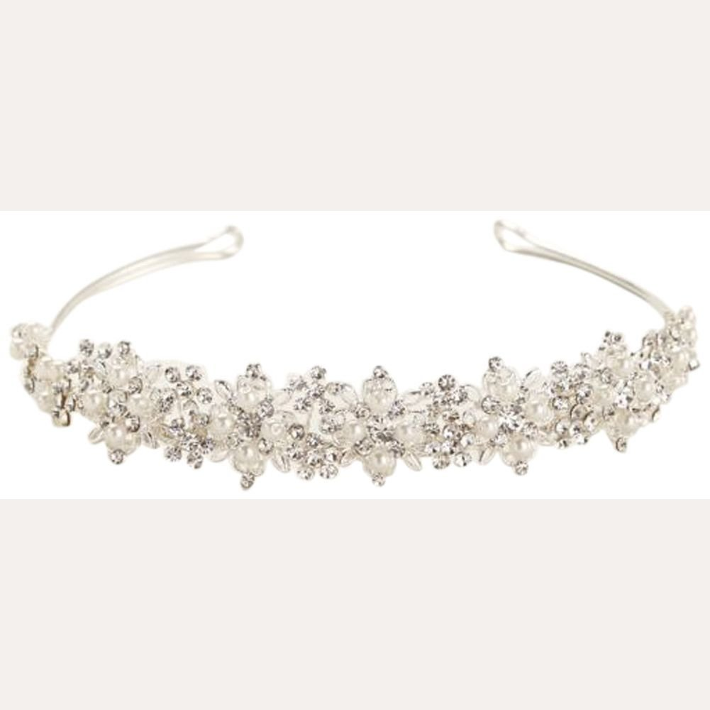 Floral Crystal and Pearl Tiara Style T8134, Silver