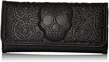 Loungefly Lattice Skull Wallet, Black, One Size