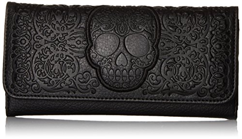 Loungefly Lattice Skull Wallet, Black, One Size ()