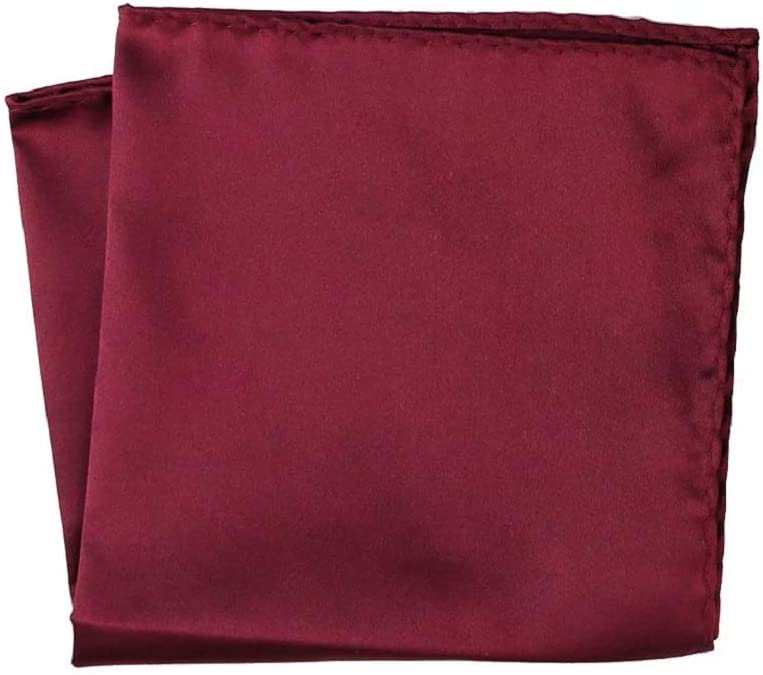 Burgundy Mens Solid Color Pocket Squares Handkerchief by NEKH accessories