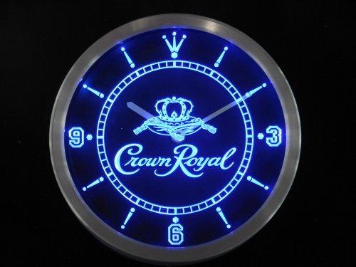 Crown Royal Whiskey Neon Sign LED Wall Clock (BLUE) (Crown Royal Neon Clock)