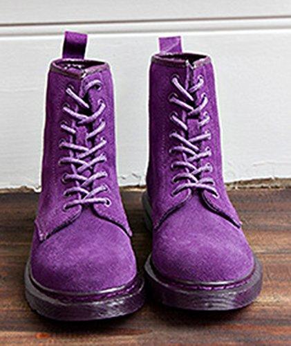 Aisun Unie Bottines Low Violet boots Femme Couleur Mode XqwFrzxX
