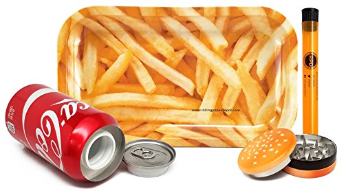 Bundle - 4 Items - Rolling Paper Depot French Fry Rolling Tray With Hamburger Shaped Herb Grinder, Diversion Can Safe and Rolling Paper Depot XL Doob Tube by Rolling Paper Depot