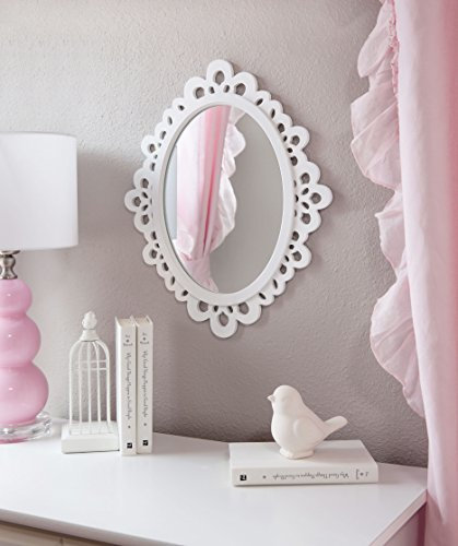 Butterfly Craze Decorative Oval Wall Mirror, White Wooden Frame for Bathrooms, Bedrooms, Dressers, and Antique Princess Décor, Medium ()