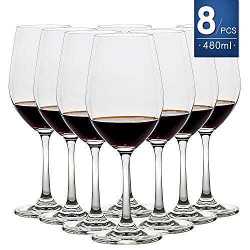 16 Ounce Set of 8, Classy Red/White Wine Glass 100% Lead-Free Premium Crystal Glass Perfect for Any Occasion, Great Gift, Clear