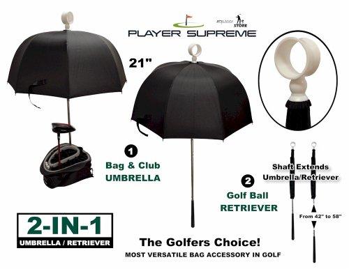 - Golf Bag Club Umbrella with Attached Golf Ball Retriever