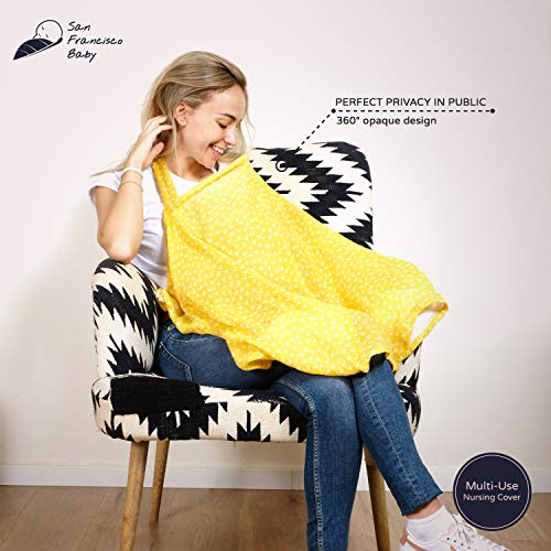 Cotton Muslin Nursing Cover – Large Breastfeeding Cover with Built-in Burp Cloth & Pocket – Soft, Breathable, Chemical-Free, 360° Coverage, Multiuse Nursing Cover by San Francisco Baby – Yellow