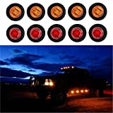 """Trailer Led 3/4"""" Round Side Marker Lights for Trucks 12V Clearance Lights Amber Side Marker Round Truck Turn Signal Lamp 10PCS 5Red + 5Yellow"""