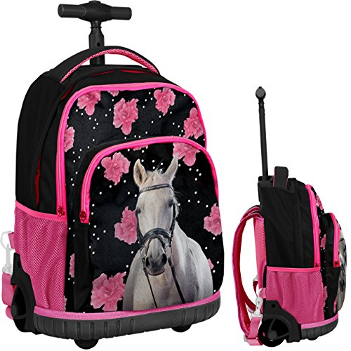 4d236b0451 Paso Flowers and White Horse Cavallo Zaino con Ruote Trolley Ragazza Scuola  Media, Elementare: Amazon.it: Valigeria