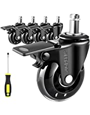AGPTEK 5 PACK Office Chair Wheels Replacement, Universal Heavy Duty Office Chair Casters with Unique Brake System, Safe for All Floors including Tile, Carpet & Wood, Screwdriver included