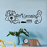 "Wall Decal Decor Wall Decals Pet Grooming Salon Interior Design Dog Pet Shop Animals Home Vinyl Decal Bathroom Sticker Living Room Decor (White, 8.5""h x22""w)"