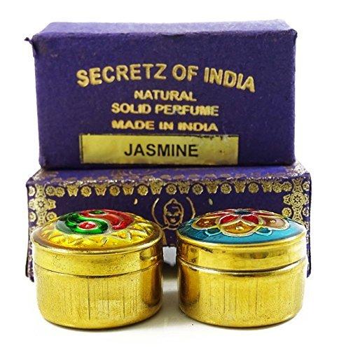 Natural Jasmine Fragrance Solid Perfume Body Musk Natural In Mini Brass Jar (Jasmine Solid Perfume)