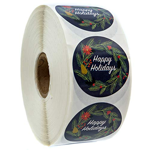 Navy Holiday Floral Happy Holidays Stickers - 1.5