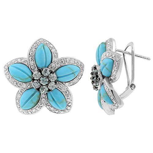 Blue Turquoise and Zirconium Cluster Floral Earring in 925 ()