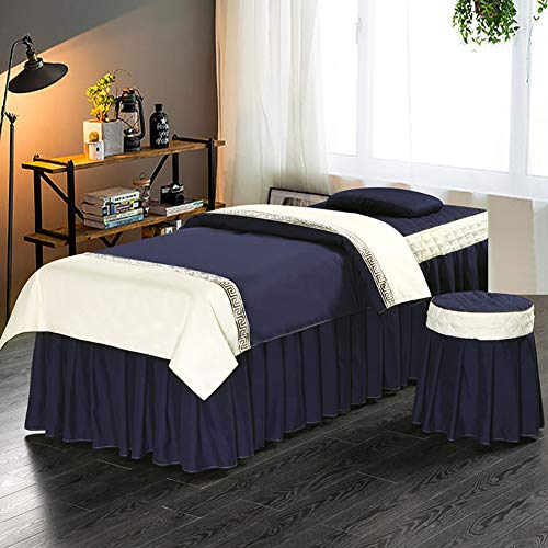 JIAOHJ Massage Bed Cover, Beauty Salon Cotton Bed Skirt, 4 Piece Set Soft Breathable Spa Bedspreads with face Rest Hole(Includ Quilt core),I,70×180cm(27.5×71inch)