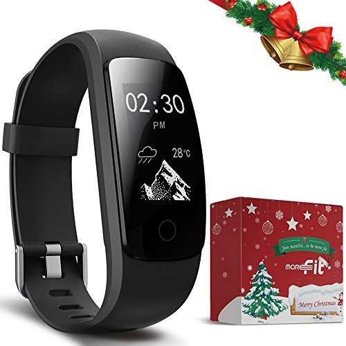 Fitness Tracker - moreFit Slim Touch HR Heart Rate Waterproof Activity Tracker Wireless Bluetooth Smart Bracelet Pedometer Watch with Sleep Monitor (Christmas Packing Design)