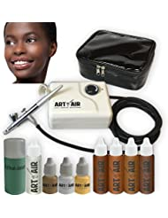 Art of Air DARK Complexion Professional Airbrush Cosmetic Makeup System/4pc Foundation Set with Blush, Bronzer, Shimmer and Primer Makeup Airbrush Kit