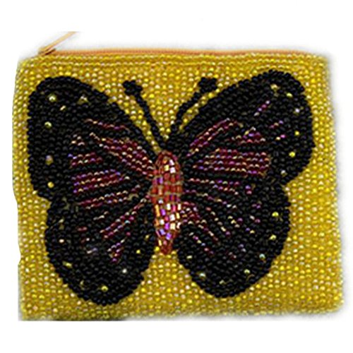 Butterfly Pure Handmade Beaded Coin Bag Women's Change Purse Yellow