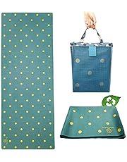GOLDEN® Travel Yogamat Antislip 1/16 Inch - 1.5 MM Dun Wasbaar Opvouwbaar 2-in-1 Handdoek, natuurlijk rubber met draagtas, XL 183cm x 68cm