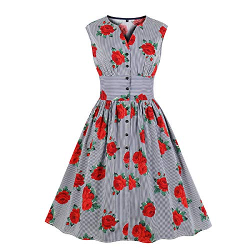 Wellwits Women's Floral Stripes Button Down 1940s Retro Vintage Dress Blue ()