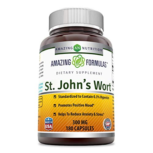 - Amazing Nutrition St. Johns Wort - 300mg Of 100% Pure St. John's Wort (Hypericum Perforatum) Extract In Every Capsules * Standardized To Contain 0.3% Hypericin - 180 Capsules Per Bottle