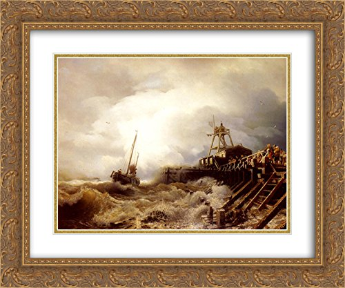 (Andreas Achenbach 2X Matted 24x20 Gold Ornate Framed Art Print 'A Fishing Boat Caught in A Squall Off A Jetty')