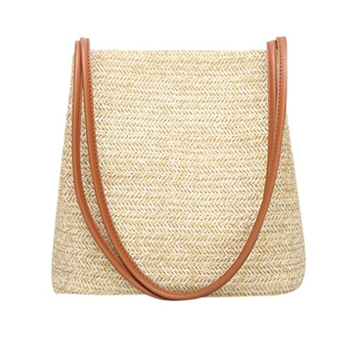 Owill Summer Style Single Shoulder Bucket Shape Solid Weaving Shopping Leisure Bag (Brown)