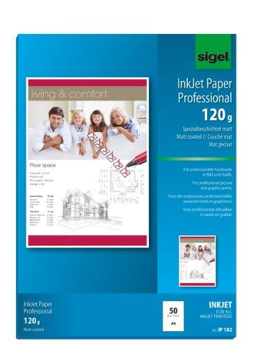 Sigel IP182 InkJet Papier Professional, A4, 50 Blatt, spezialbeschichtet matt, weiß, 120 g