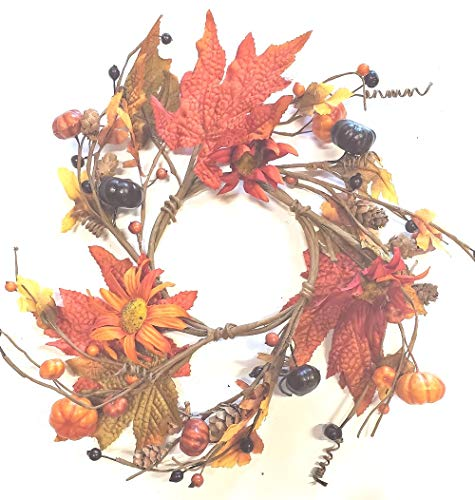 (MerdCraft Fall Floral Candle Ring - Burnt RED and Orange Daisies Candle Ring W/Pumpkins, Mixed Leaves, Berries and Mini Pine Cones - 4.5