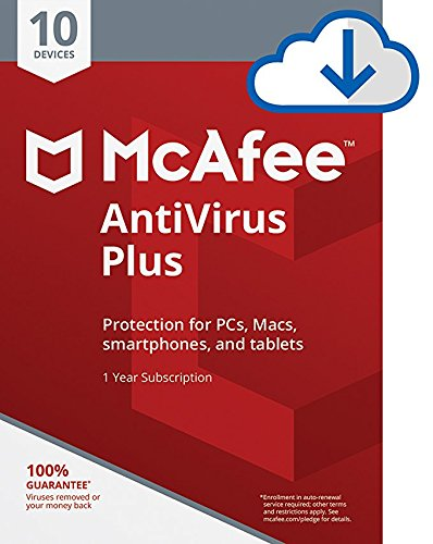 McAfee AntiVirus Plus| Internet Security|10 Device| 1 Year Subscription| [PC/Mac Download]| 2019 Ready