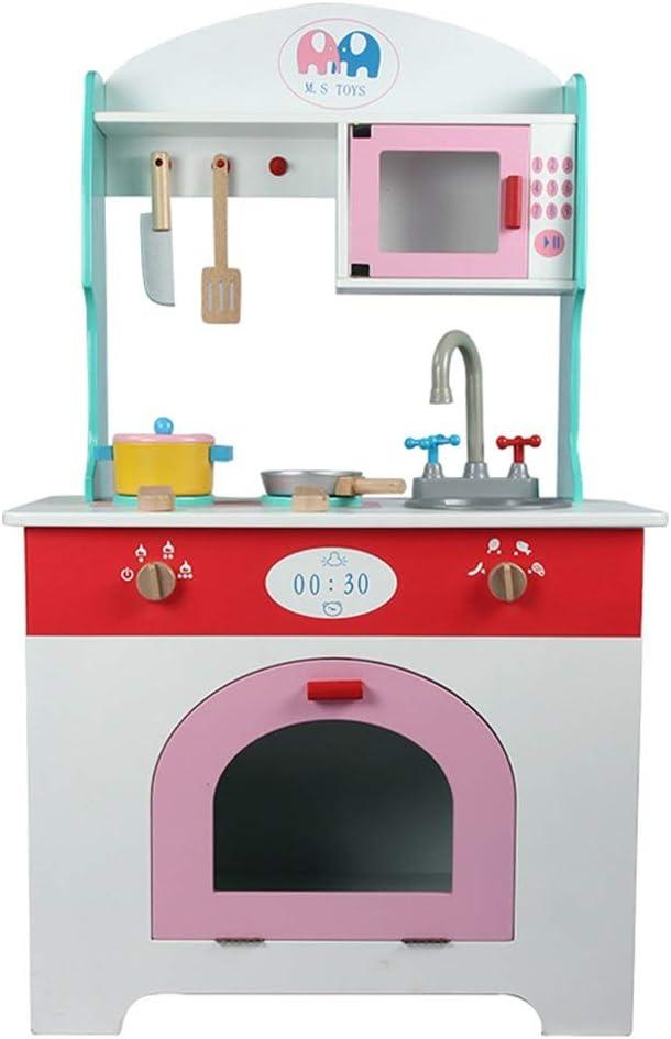キッチンおもちゃ 子供のロールプレイがセット玩具木製プレイキッチンをふり クリスマスやお誕生日 (Color : As picture, Size : 56x100cm)