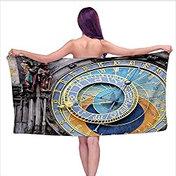 Onefzc Bath Towel Clock Prague Astronomical Clock in The Old Town an European Medieval Landmark of City Super Soft Highly Absorbent W40 x L20 Blue and Yellow