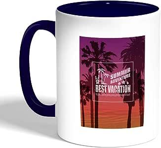 best vacation Printed Coffee Mug, Blue Color