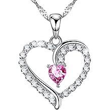 Birthday Anniversary Gift Love Heart Infinity Pink Tourmaline Pendant Necklace for Women Her Sterling Swarovski