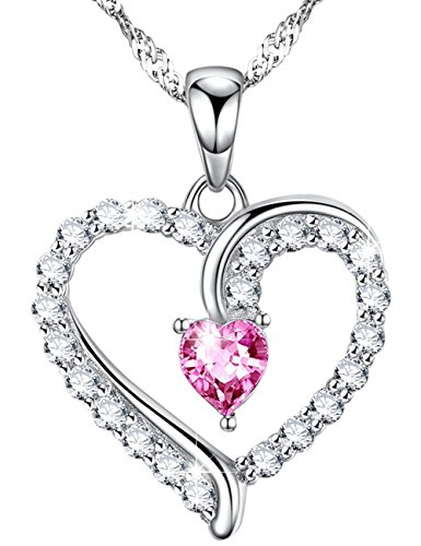 Mothers Day Infinity Love Hearts Necklace for Mom Women Her Pink Tourmaline Pendant Womens Jewelry Anniversary Birthday for Wife for Lady Sterling Silver Swarovski 18